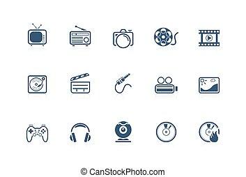 serie, piccolo, icone, -, media