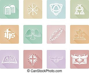 serie, set, cristiano, icona