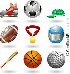serie, set, sport, icona, baluginante