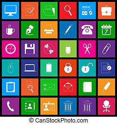 serie, stile, metro, ufficio, icona
