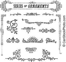 serie, vettore, ornamenti, vendemmia