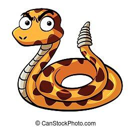 serio, faccia, serpente a sonagli