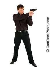serio, fucile, uomo
