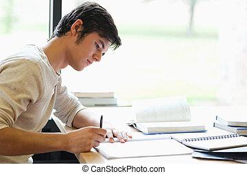serio, studente maschio, scrittura