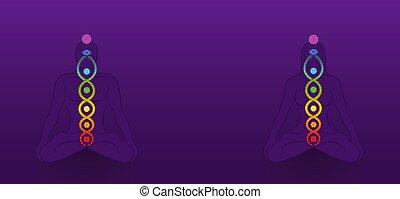 serpente, avvolto, meditazione, yoga, chakras, viola, coppia, kundalini