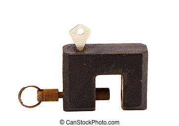 serratura, arrugginito, nero, isolato, chiave