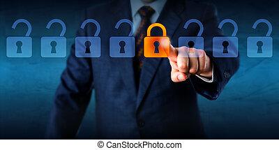 serratura, bloccaggio, virtuale, serrature, lineup, aperto