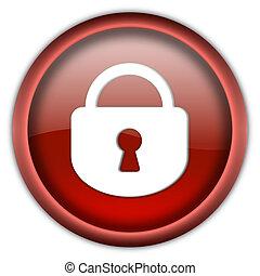 serratura, bottone, chiuso