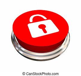 serratura, bottone, illustrazione, sicurezza, sicurezza, icona, simbolo, 3d