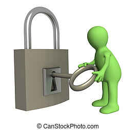 serratura, burattino, apertura