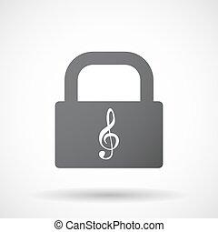 serratura, cuscinetto, chiave, isolato, g
