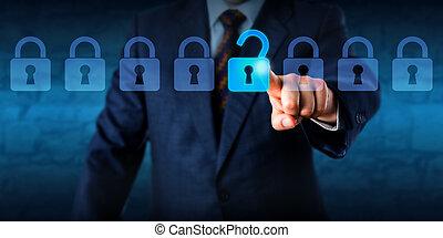 serratura, direttore, lineup, sbloccando, virtuale