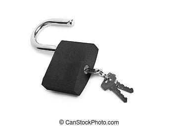 serratura, isolato, chiave
