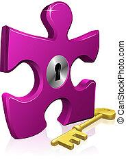 serratura, jigsaw, chiave, pezzo