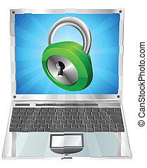 serratura, laptop, concetto, icona