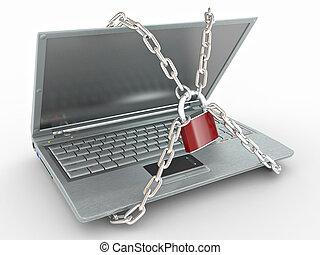 serratura, laptop, isolato, fondo, bianco, catene