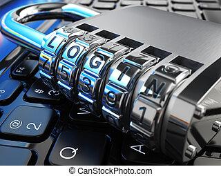 serratura, laptop, sicuro, login., sicurezza internet, concept.