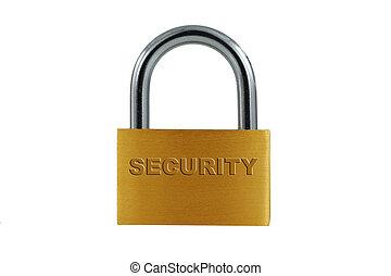 serratura, ottone, bianco, isolato