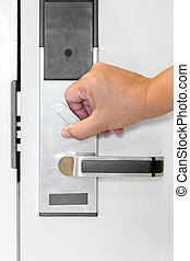 serratura, porta, mano