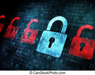 serratura, schermo, sicurezza, concept:, digitale