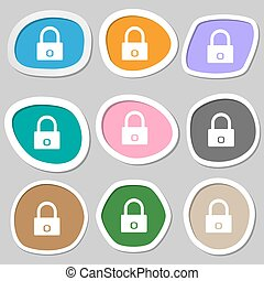 serratura, segno, simbolo., variopinto, carta, armadietto, vettore, icon., stickers.