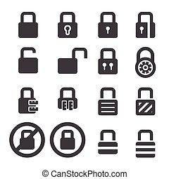 serratura, set, icona