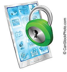 serratura, sicurezza, concetto, icona, telefono