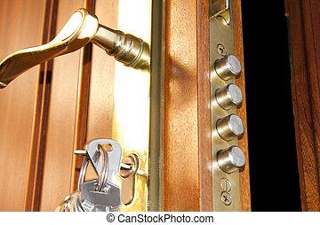 serratura, sicurezza, porta, casa