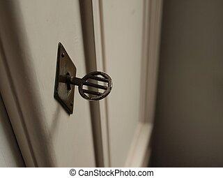 serratura, vecchio, metallo, chiave