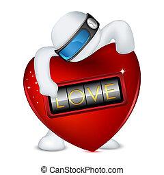 serratura, vettore, amore, uomo, 3d
