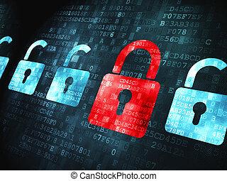 serrature, sicurezza, concept:, fondo, digitale