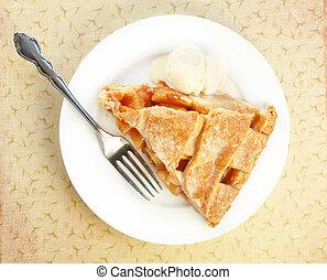 servire, crema, mela, ghiaccio, torta