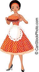 servire, giovane, torta, signora