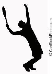 servire, sport, -, giocatore, tennis, silhouette