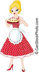 servire, torta, donna, giovane