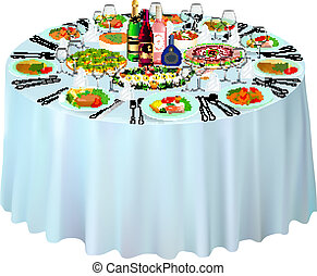 servito, gala, bianco, buffet