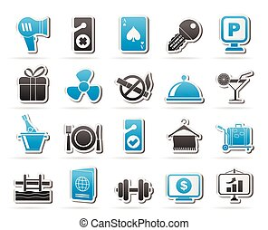 servizi, 2, motel, albergo, icone