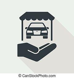 servizi, automobilistico, sala esposizione, icona