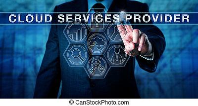 servizi, direttore, toccante, nuvola, fornitore