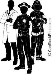 servizi, silhouette, emergenza, squadra