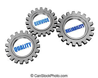 servizio, grigio, attendibilità, qualità, argento, ingranaggi