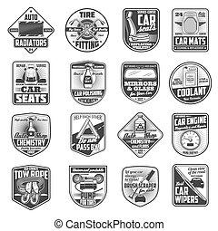 servizio, motore, icone, parti di ricambio, automobile