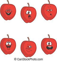 set, 011, emozione, mela, cartone animato, rosso