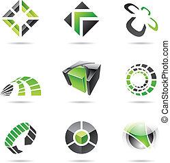 set, 15, astratto, verde, nero, icona