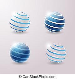 set, 3d, icone