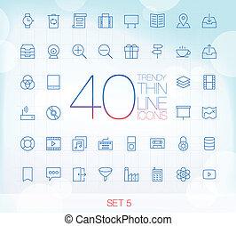 set, 5, magro, 40, icone