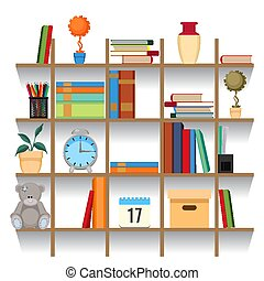 set, accatastato, illustration., ufficio, mensola, accessori, vettore, libro