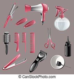 set, accessori, lavoro parrucchiere