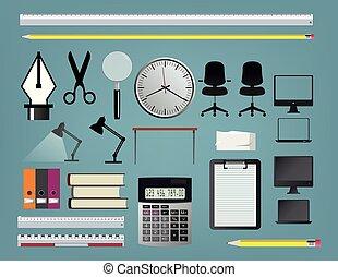 set, accessori, ufficio