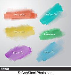 set, acquarello, vettore, splatters., artistico, brush.